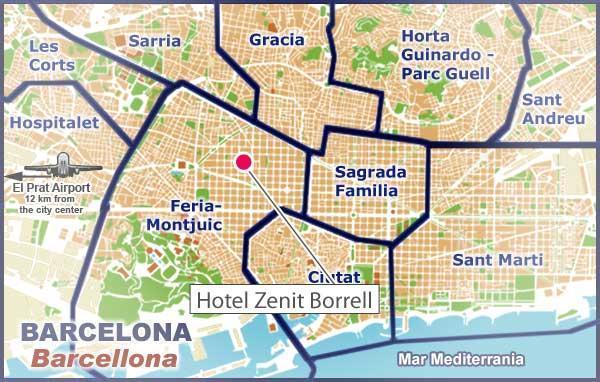 Situaci n hotel zenit borrell barcelona - Calle borrell barcelona ...